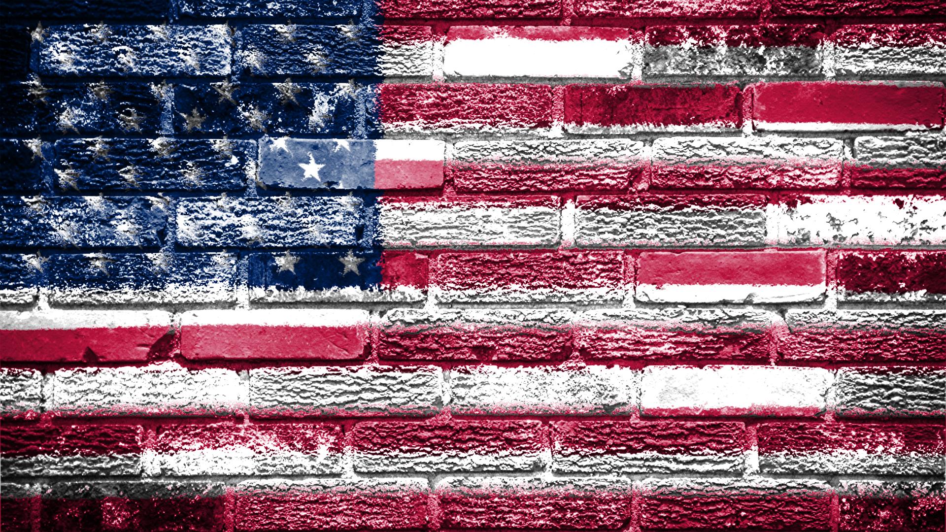 レンガに描かれたアメリカ国旗 Pc スマートフォンの壁紙 スマート