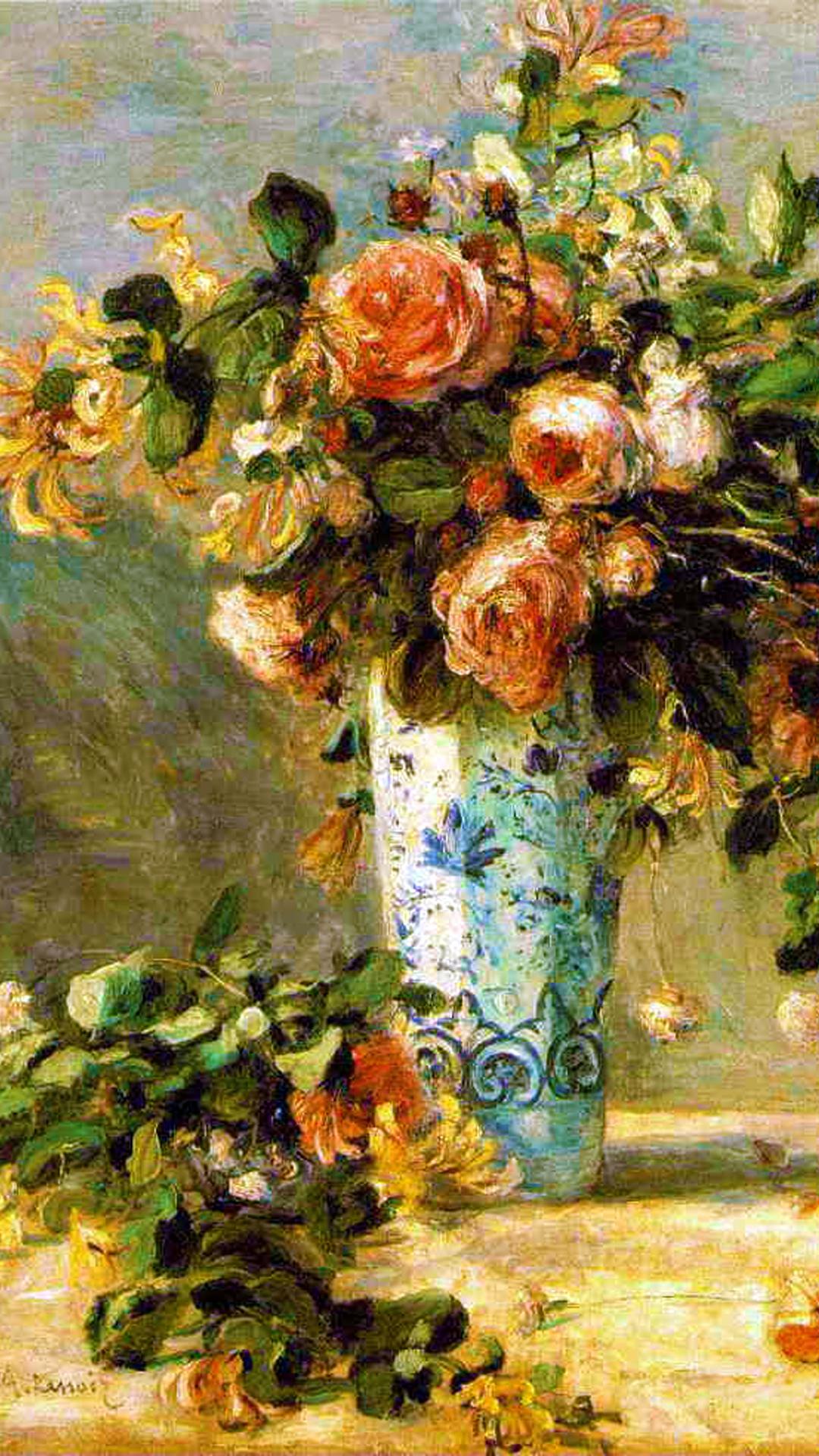 オーギュスト ルノワール デルフト焼きの花瓶のバラとジャスミン Pc スマートフォンの壁紙 スマートマイズ